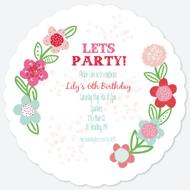 birthday party invitations - Wildflowers by Jolene Heckman