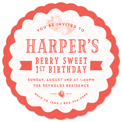 birthday party invitations - Berry Sweet 1st Birthday by Becky Hoppmann