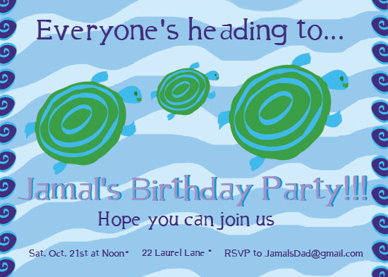birthday party invitations - Swimming towards fun by EllynDraws
