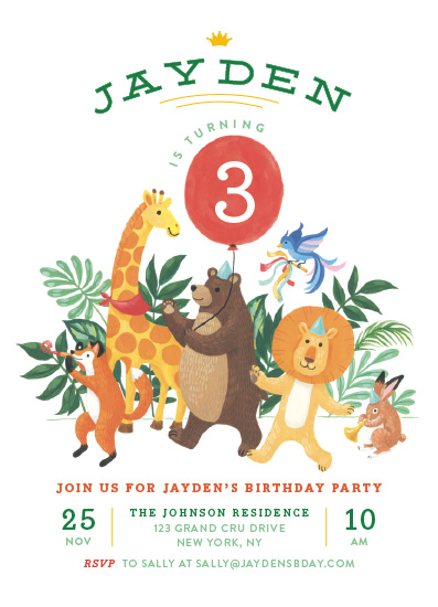 birthday party invitations - Animal Safari by Four Wet Feet Studio