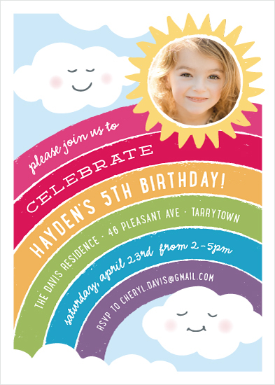 birthday party invitations - Joyful Rainbow by Hooray Creative