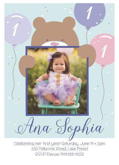 birthday party invitations - Birthday Bear by Sandy Miranda
