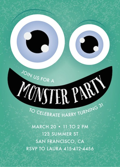 birthday party invitations - It's Monster Party by Candy Girl