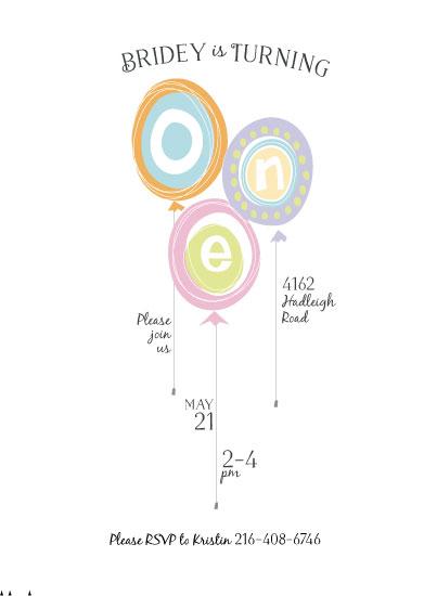 birthday party invitations - First Birthday Balloons by Anastasia B. Kijewski