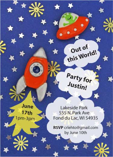 birthday party invitations - Space Friend by Christine Rae