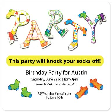 birthday party invitations - Party your socks off by Christine Rae