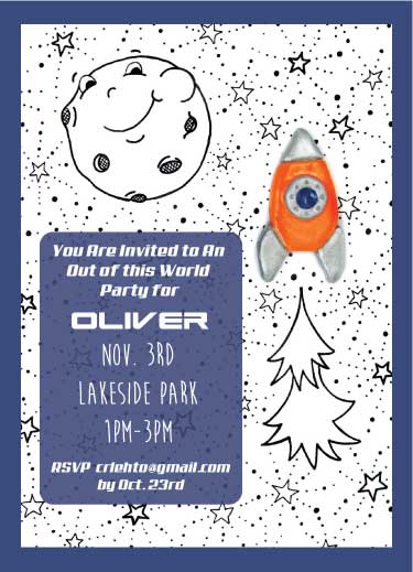 birthday party invitations - Rocket to the Moon by Christine Rae