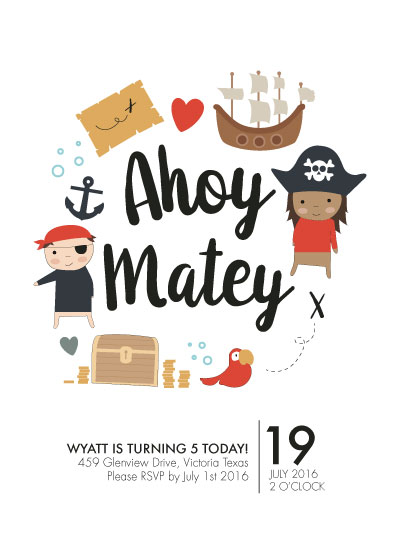 birthday party invitations - YO HO HO by Chrysta Totten
