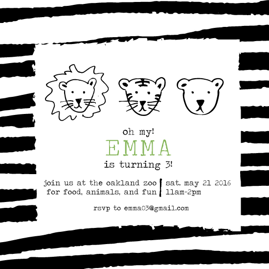 birthday party invitations - lions, tigers and bears by JK Design