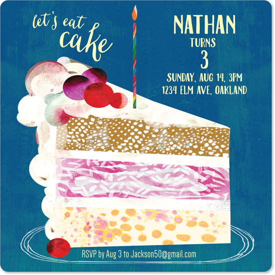 birthday party invitations - Painted Paper Collage Layered Cake by Sara Christian