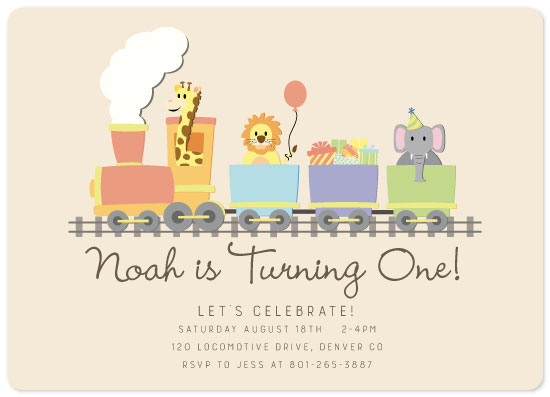 birthday party invitations - Animal Train by Erica Fasoli