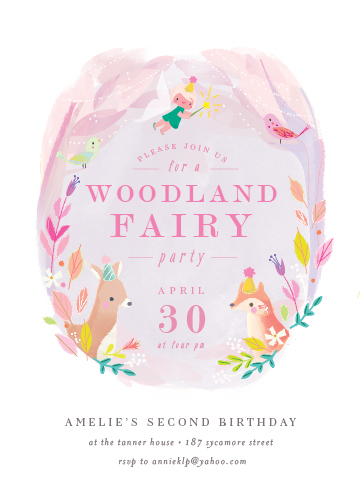 birthday party invitations - Woodland Fairy by Lori Wemple