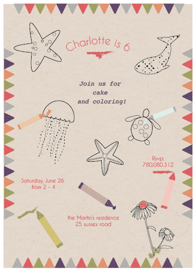 birthday party invitations - cake and color by carmengolden