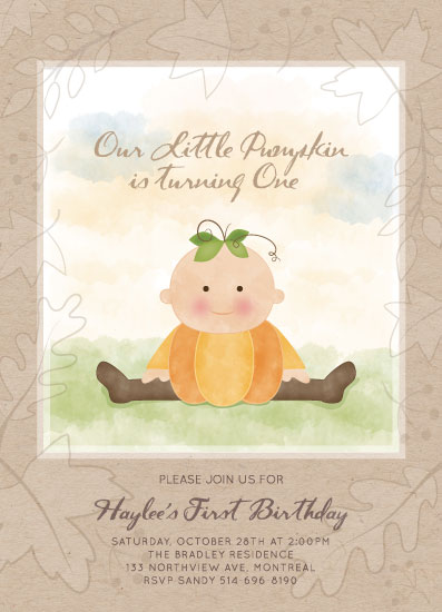 birthday party invitations - Sweet Little Pumpkin by Agi Szabo