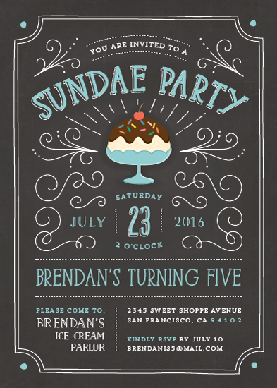 birthday party invitations - sundae party by Guess What Design Studio
