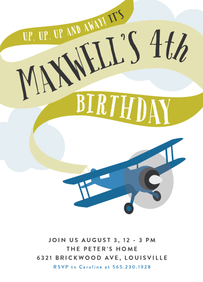 birthday party invitations - Banner Takeoff by Haley Warner