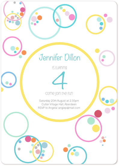 birthday party invitations - Bubbles by Amy Hardie