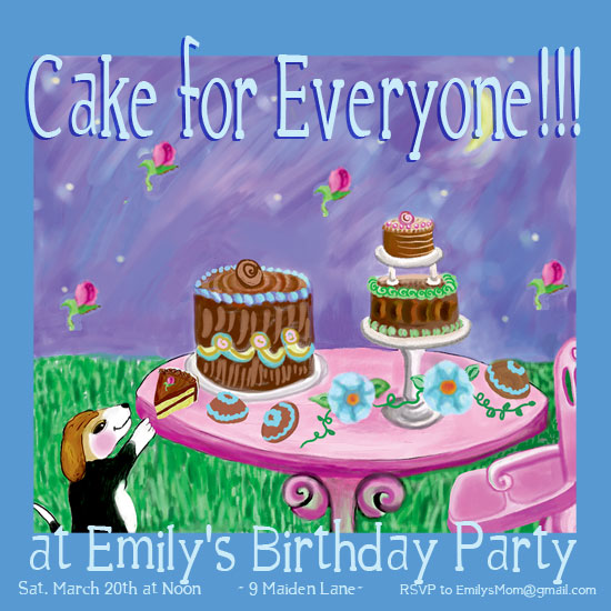 birthday party invitations - Cake for Everyone by EllynDraws