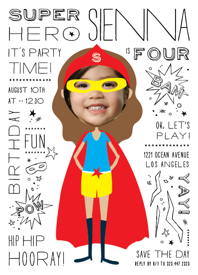 birthday party invitations - Super Hero by Michelle Poe