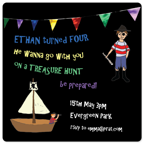 birthday party invitations - Treasure hunt pirat by Juli Marti