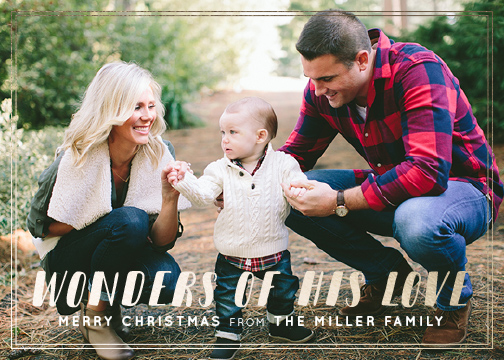 holiday photo cards - Wonders of His Love - Simple Christmas Card by Jen Wagner