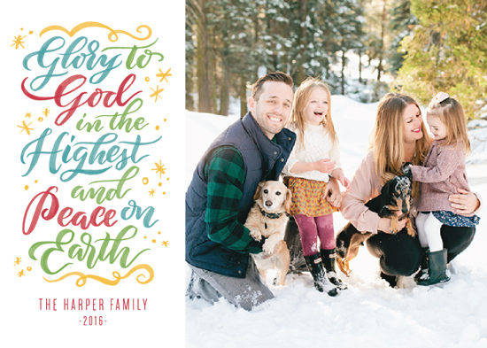 holiday photo cards - Glory to God in the Highest & Peace on Earth by Laura Bolter Design
