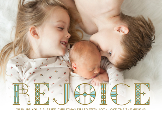 holiday photo cards - Stainglass Rejoice by Coco and Ellie Design