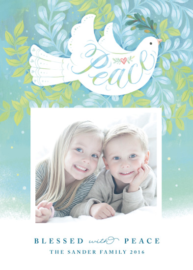 holiday photo cards - Blessed with Peace by Four Wet Feet Studio