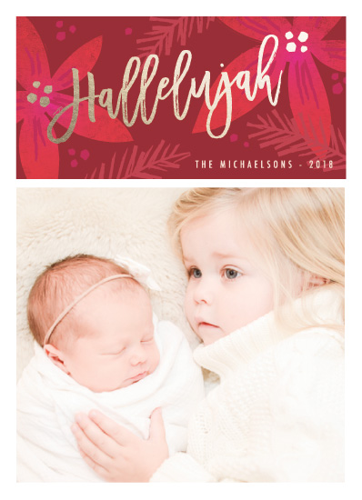 holiday photo cards - poinsettia hallelujah by Karidy Walker