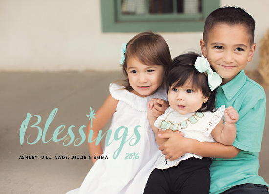 holiday photo cards - Blessings Mint by Erika Firm