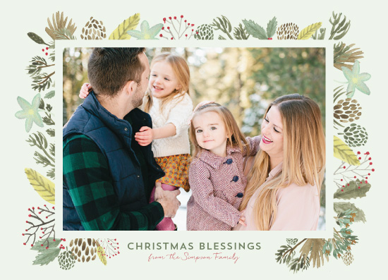 holiday photo cards - Winter Foliage Frame Christmas Blessings by Erika Firm