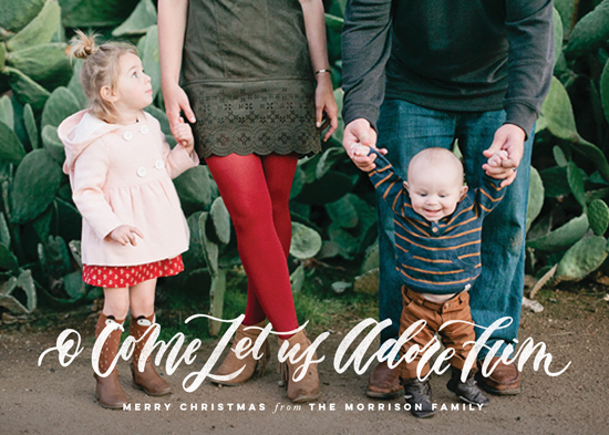 holiday photo cards - O Come Let Us Adore Him by Wildfield Paper Co.