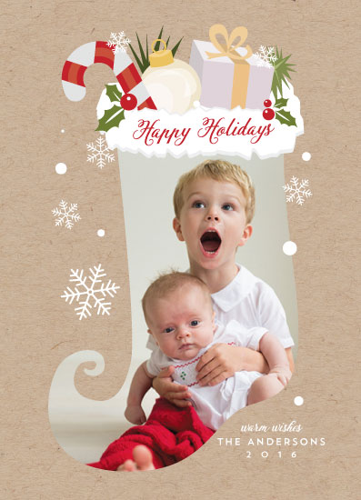 holiday photo cards - Christmas Sock by heythird