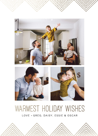holiday photo cards - Angled Golden Wishes in Gold by Pixel and Hank