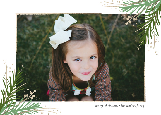 holiday photo cards - Golden Evergreens by Jessica Williams