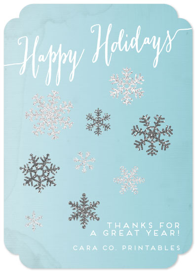 non-photo holiday cards - Glitter Snowflake Corporate Thanks by CaraCoPrintables