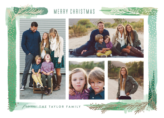 holiday photo cards - Paint Swash Pine Border by Alethea and Ruth