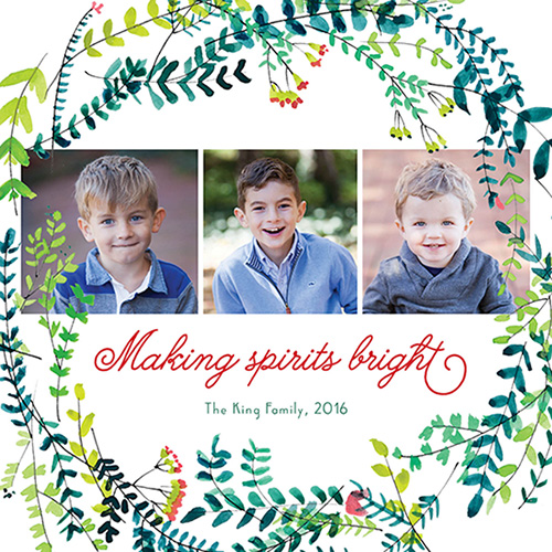 holiday photo cards - Square Holiday Greenery Wreath by Annie Taylor
