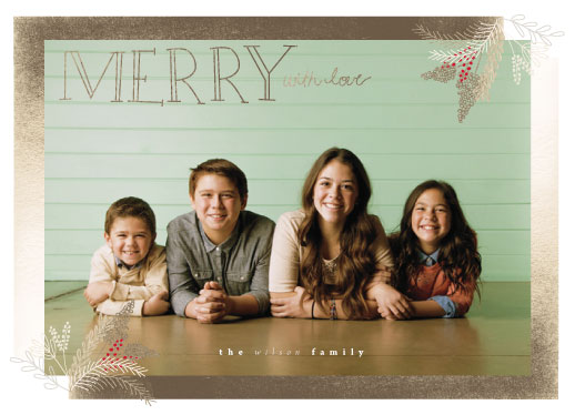 holiday photo cards - merry with love by frances