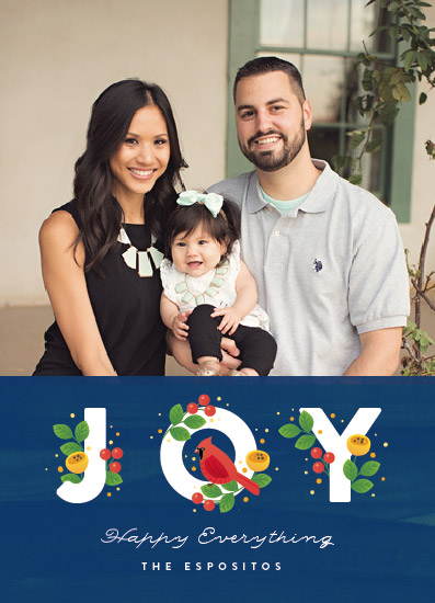 holiday photo cards - Joy with A Cardinal by Four Wet Feet Studio