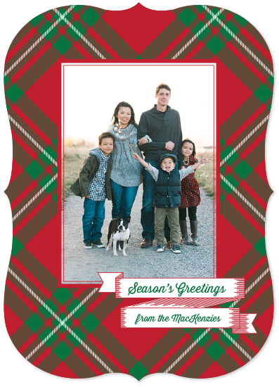 holiday photo cards - Season's Greetings in Plaid by Moy Creative