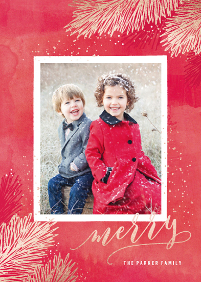 holiday photo cards - Metallic Pine Brush by Hooray Creative