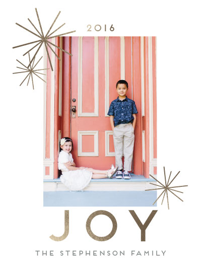 holiday photo cards - Foil Pressed Modern Joy by CaraCoPrintables