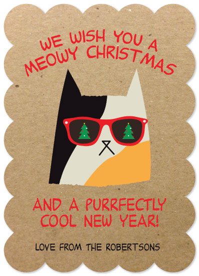 non-photo holiday cards - Meowy Christmas by CaraCoPrintables