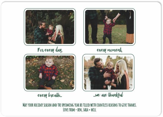 holiday photo cards - Thankful for Every Moment by Darcy Sang