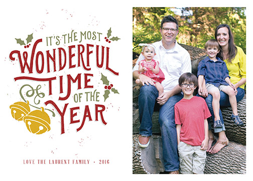 holiday photo cards - Illustrated Most Wonderful Time of the Year by Patrick Laurent