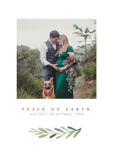 holiday photo cards - Clean Laurel Wishes by The Carillos