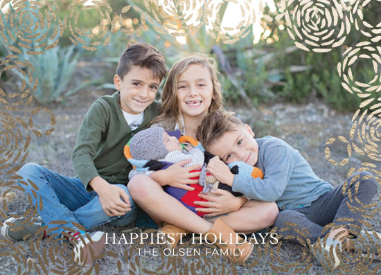 holiday photo cards - Gold Flower Holiday by Christina Flowers