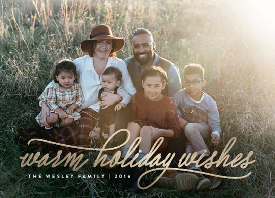 holiday photo cards - warm holiday wishes by Design Lotus