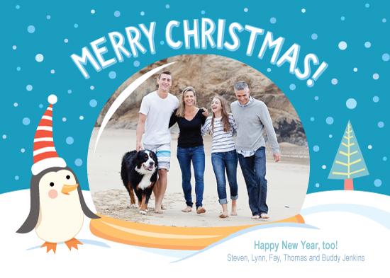 holiday photo cards - Penguin & Snow Globe by Carol Yoshizumi